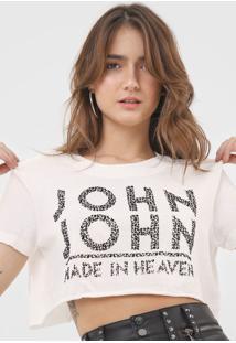 Camiseta Cropped John John Onça Off-White