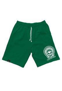 Bermuda Moletom Mfw Indian Skull Com Bolsos Masculina - Masculino-Verde