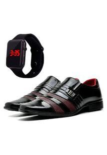 Sapato Social Elegant Com Relógio Led Dubuy 813La Vinho