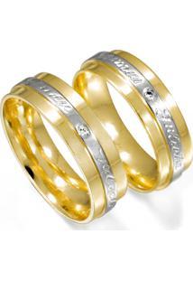 Aliança De Ouro Filete Com Ouro Branco- As0282