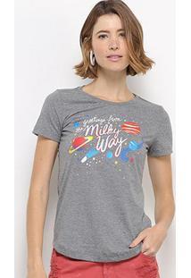 Camiseta Hapuna Estampada Feminina - Feminino-Mescla Escuro