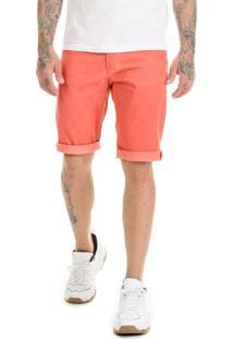 Bermuda Offert Sarja Premium Masculina Slim Fit Coral