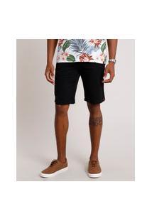 Bermuda De Sarja Masculina Reta Preta