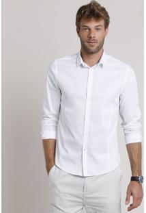Camisa Social Masculina Slim Manga Longa Branca