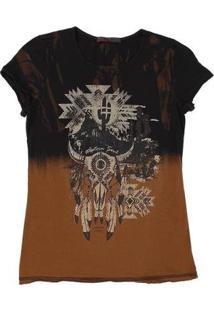 Camiseta Tassa Estampada 21402 Feminina - Feminino-Preto
