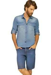 Bermuda Riccieri Regular Alta Jeans - Azul - Masculino - Dafiti