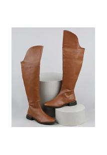 Bota Feminina Oneself Montaria Cano Alto Over The Knee Caramelo