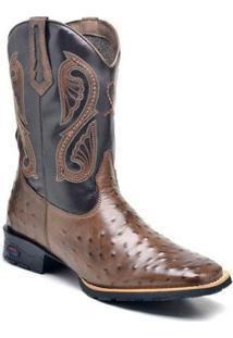 Bota Texana Ded Calçados Avestruz Bico Quadrado Cano Longo Bordado Masculina - Masculino-Marrom