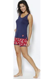 f9f550c8ee Short Doll Com Corações- Azul Marinho   Vermelhodaniela Tombini