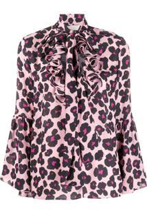 La Doublej Camisa Carmen Flower Leopard Rosa