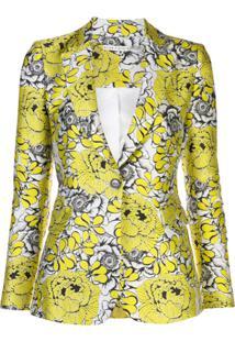Alice+Olivia Blazer Slim Com Padronagem Floral E Gola V - Amarelo