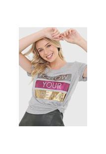 Camiseta Enfim Lettering Cinza