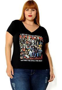 Camiseta Vintage And Cats I Hear Dead People Preta