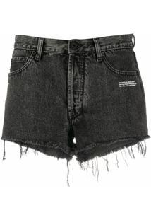 Off-White Short Jeans Com Acabamento Desfiado - Cinza