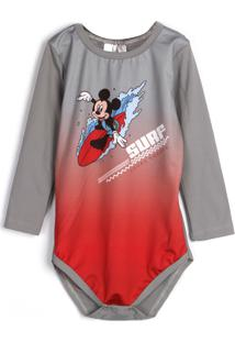 Body Marlan Baby Menino Mickey Cinza/Vermelho