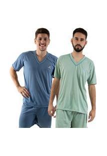 Kit 2 Pijamas Curtos 070 Linha Noite
