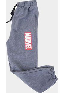Calça Moletom Infantil Marvel Logo Masculina - Masculino-Mescla