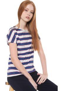 Camiseta Lacoste Listrada Azul/Branca