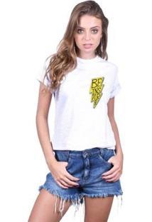 Camiseta Joss Feminina Estampada Be Inspired - Feminino-Branco