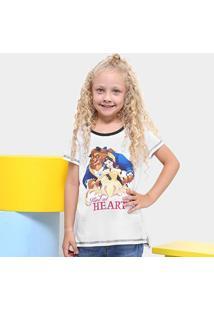 Camiseta Disney Bela Infantil - Feminino-Branco+Marinho