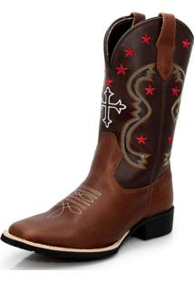 Bota Texana Country Texas Gold Bico Quadrado Cruz Marrom - Kanui