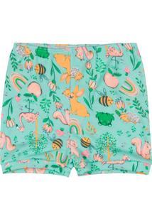 Shorts Bebê Menina Em Suedine Verde