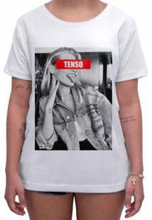 Camiseta Impermanence Estampada Tenso Feminina - Feminino-Branco