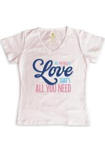 Camiseta Gola V Cool Tees All You Need Feminina - Feminino-Rosa