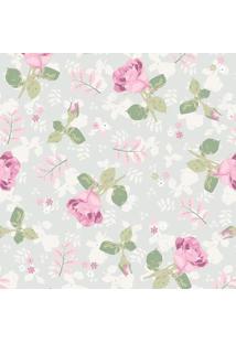 Papel De Parede Floral- Verde Claro & Rosa- 300X0,58Jmi Decor