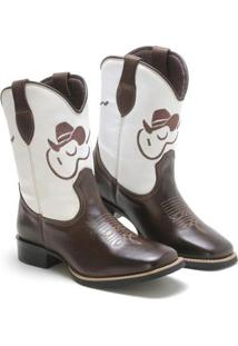 Bota Lookstock Country Texana Bordada Violão Masculina - Masculino-Marrom+Branco