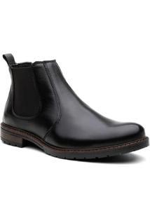 Bota Vittal Calçados Em Couro Masculina - Masculino-Preto
