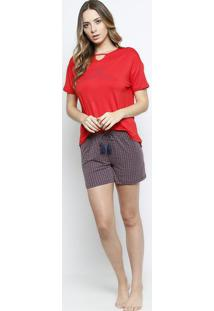 f872a864b4 Short Doll Geométrico- Vermelho   Azul Marinhodaniela Tombini
