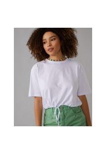 Amaro Feminino T-Shirt Com Cintura Regulável, Branco