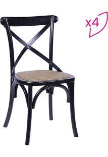 Jogo De Cadeiras Cross- Preto & Bege- 4Pã§S- Or Dor Design