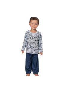 Pijama Camiseta Manga Longa Estampada E Calça - Izitex