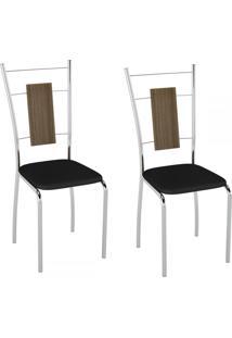 Cadeiras Kit 2 Cadeiras Pc19 Madeira Vinil Preto/Cromado - Pozza