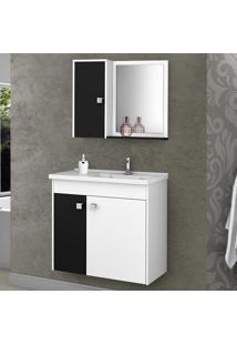 Conjunto Para Banheiro Munique Branco/Preto - Bechara Móveis