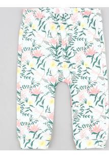 Calça Infantil Estampada Floral Off White