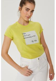 Amaro Feminino T-Shirt Manga Curta Frase, Verde Limão