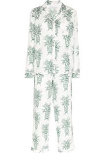 Desmond & Dempsey Conjunto De Pijama Howie De Algodão Com Estampa De Abacaxi - Branco