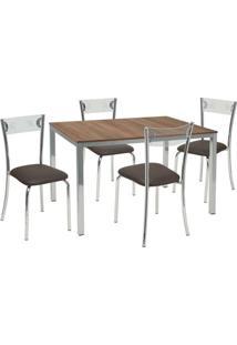 Conjunto De Mesa Com 4 Cadeiras Maria Corino Marrom E Cromado - Única
