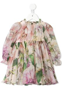 Dolce & Gabbana Kids Vestido Com Estampa Floral - Rosa
