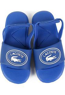 Chinelo Slide Infantil Lacoste Sportswear Tira Masculino - Masculino-Azul
