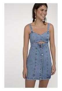 Vestido Jeans Com Botões E Abertura Frontal