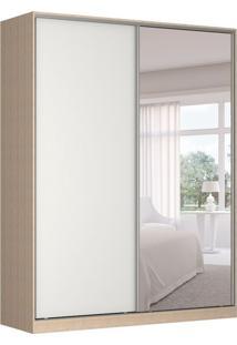 Guarda-Roupa Solteiro Com Espelho Tunas Ii 2 Pt 3 Gv Noce E Branco