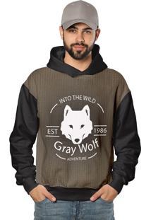 Casaco De Moletom Gray Wolf O Grande Lobo