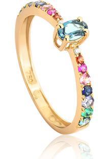 Anel De Ouro 18K Solitário Meia Aliança Com Diamantes E Mix De Gemas Colors-Coleção Paradis