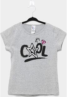 Blusa Infantil Pulla Bulla Cotton Paetê Cool Feminina - Feminino-Cinza