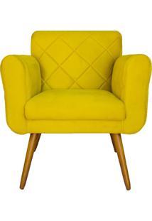Poltrona Decorativa Isabella Em Tressê Suede Amarelo - Ds Móveis