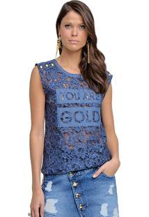 T-Shirt Riccieri Renda Azul